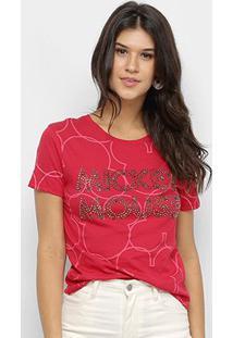 Blusa Disney Vintage Mickey Mouse Paetê Feminina - Feminino-Vermelho