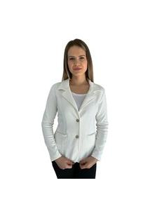 Blazer Aero Jeans Branco Com Botões