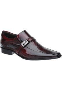 Sapato Social Malbork Em Couro Verniz Dark Red - Masculino-Preto+Vermelho