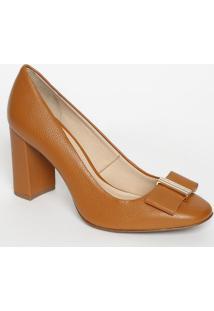 Sapato Tradicional Em Couro Com Tag - Bege Escuro - Jorge Bischoff