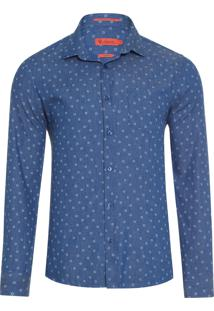 Camisa Masculina Denim Ft Jeans Estampado - Azul