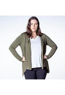 Cardigan Malha Plus Besni Feminina - Feminino-Verde Militar