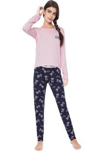 Pijama Any Any Hello Bulldog Rosa/Azul-Marinho