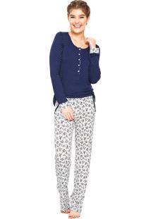 Pijama Any Any Estampado Branco/Azul
