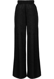Oséree Calça Pantalona Com Efeito Cintilante - Preto