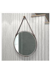 Espelho Redondo Retrô Decorativo 58Cm Movelbento Design C/ Alça