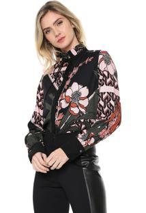 Camisa Lança Perfume Gola Alta Preta/Rosa