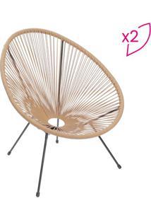 Jogo De Cadeiras Acapulco- Natural & Preto- 2Pã§Sor Design