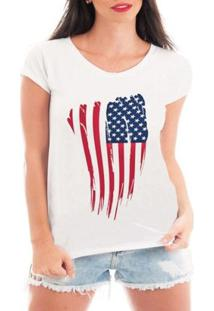 Camiseta Bata Criativa Urbana Bandeira Eua Usa - Feminino