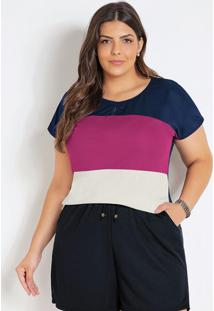 Blusa Marinho, Púrpura E Off White Plus Size