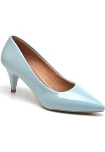 Scarpin Casual Ellas Online Salto Baixo Feminino - Feminino-Azul