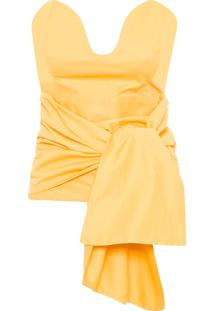 Blusa Feminina Bustier Origami - Amarelo