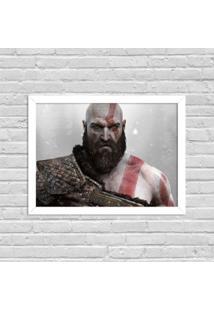 Quadro Decorativo Gamer God Of War Branco - Grande