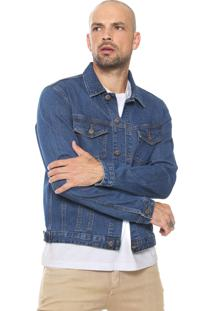 Jaqueta Jeans Jack & Jones Bordada Azul