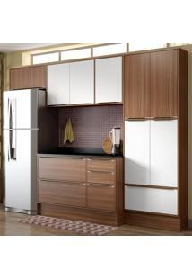 Cozinha Compacta 11 Portas C/ Tampo E Rodapé 5458R Nogueira/Branco - Multimóveis