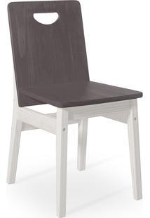 Cadeira De Madeira Para Mesa De Jantar Tucupi 40X51X81Cm - Acabamento Stain Branco E Grafite