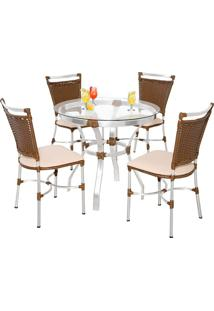 Conjunto Mesa Redonda Com 4 Cadeiras Itajai - Metal Do Brasil - Avela Envelhecido