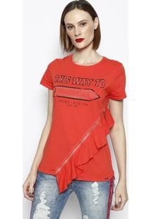 Camiseta Com Zíper & Babado- Vermelha & Pretadimy