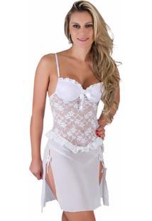 Camisola De Noiva Estilo Sedutor Transparente Em Renda Com Bojo Branca