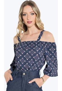 Blusa Barroco Azul Com Alças Largas