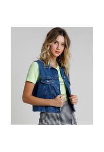 Colete Jeans Feminino Cropped Azul Escuro
