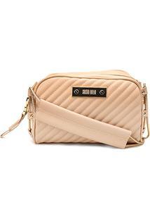 Bolsa Santa Lolla Mini Bag Alça Corrente Matelassê Feminina - Feminino-Bege