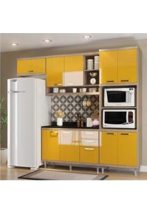 Cozinha Completa Multimóveis Com 5 Peças Sicília 5829 Argila/Amarelo