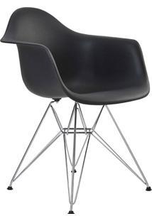Cadeira Com Braço Pp Base Cromada Eiffel -Rivatti - Preto