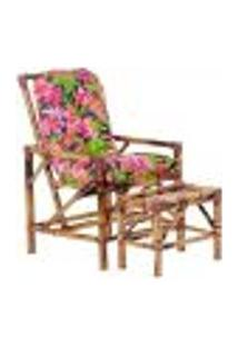 Conjunto Mesa E Cadeira De Bambu Cancun Para Área Edicula Jardim G25