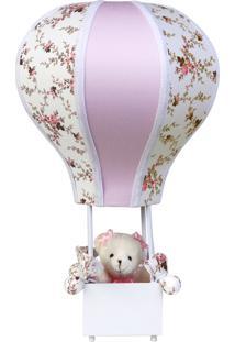 Abajur Potinho De Mel Balãozinho Acinturado Ursa Rosa Quarto Bebê Infantil Menina - Kanui