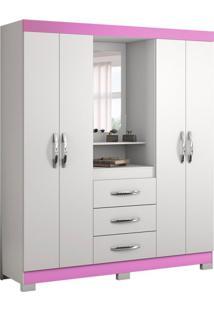 Guarda-Roupa Casal Com Espelho Capelinha 4 Pt Branco E Rosa