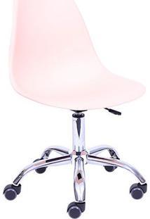 Cadeira Eames Dkr Rodizio- Salmã£O & Prateada- 93X47Xor Design