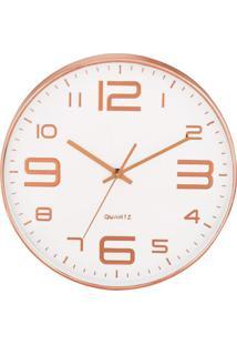 Relógio De Parede- Branco & Rosê Gold- 4Xø35,5Cmmart