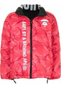 Aape By *A Bathing Ape® Jaqueta Matelassê Com Logo - Vermelho