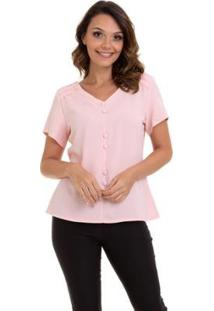 Blusa Crepe Botões Forrados Renda No Ombro Feminino - Feminino-Rosa