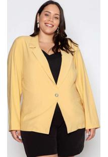 Blazer Almaria Plus Size New Umbi Liso Amarelo