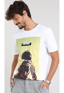 Camiseta Masculina Astronauta Manga Curta Gola Careca Off White