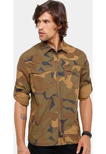 Camisa Ellus Estampa Camuflada Geométrica Masculina - Masculino