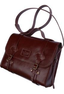 Bolsa Line Store Leather Satchel Oregon Pequena Couro Marrom Avermelhado - Kanui
