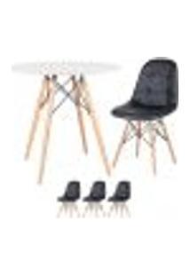 Conjunto - Mesa Eames 80 Cm Branco + 3 Cadeiras Eames Eiffel Botonê Preto