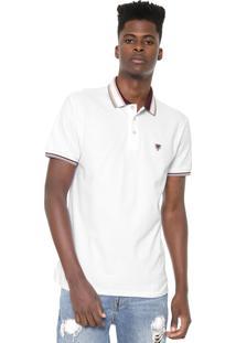 Camisa Polo Cavalera Reta Listras Branca/Vinho