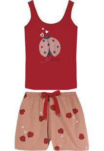 Pijama Vermelha Joaninha De Inscrição