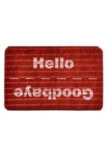 Capacho Carpet Goobaye/Hello Vermelho Único Love Decor