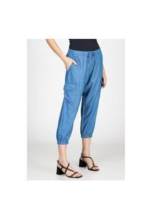 Calça Jogger Jeans Leve Bloom Cropped Cargo