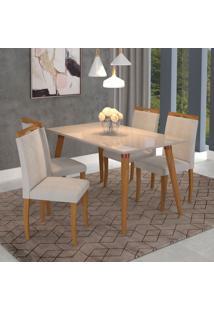 Conjunto De Mesa De Jantar Adele Com 4 Cadeiras Laura Linho Off White E Aspen