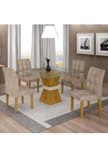 Conjunto De Mesa De Jantar Com 4 Cadeiras Vitória Veludo Ypê E Off White
