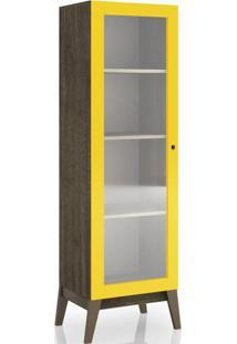 Cristaleira Genialflex 809 1 Porta Com Vidro Demolição/Amarelo