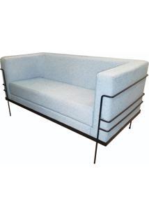 Sofa Le Corbusier Com 2 Lugares Assento Verde Agua Base Aco Preto - 56186 - Sun House