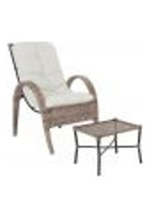 Jogo Cadeira 1Un E Mesa P/ Jardim Edicula Varanda Descanso Trama Napoli Plus Argila A34