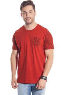 Camiseta Com Bolso Estampado Vermelho Bgo